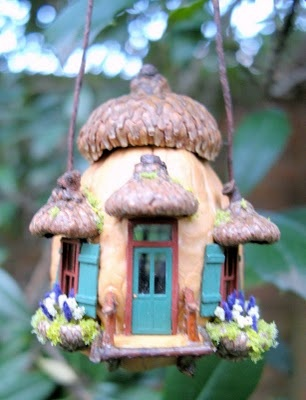 walnut shell house with acorn cap roof...