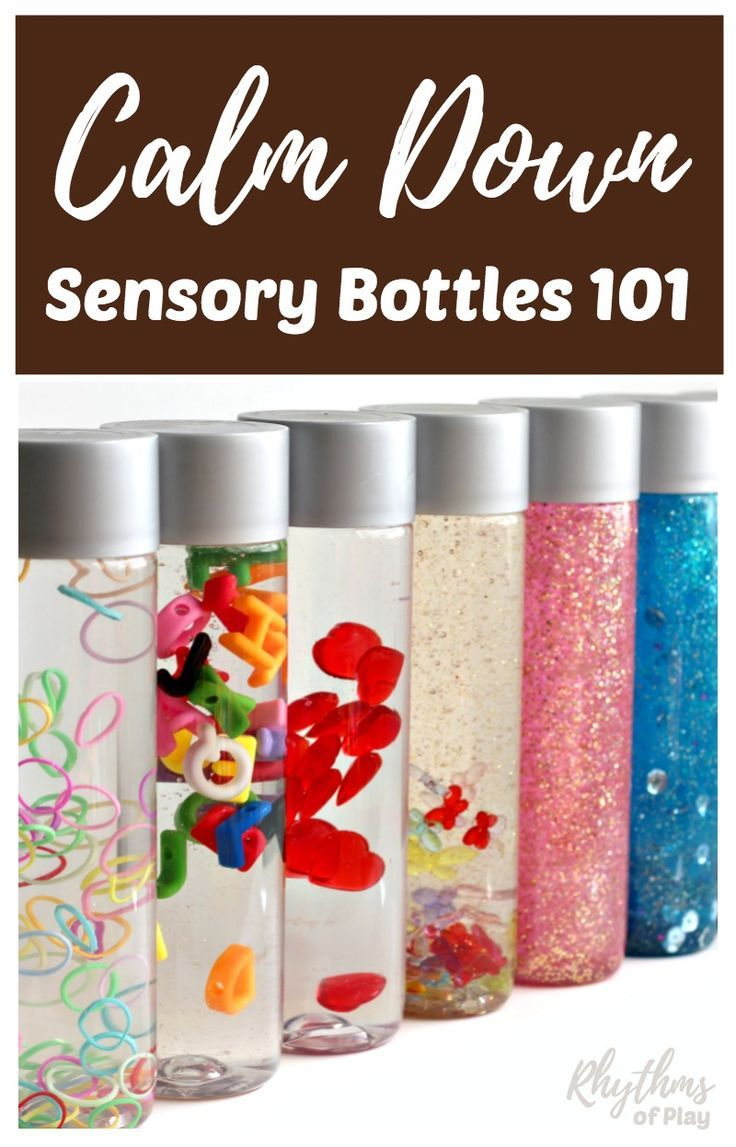 "DIY Calm down sensory bottles are used for portable no mess safe sensory play for babies, toddlers, and preschoolers, to calm an anxious child, to help children learn to meditate, and as a ""time out"" timer for kids. This article includes links to resources available to help learn more about their uses and how to make DIY sensory bottles."