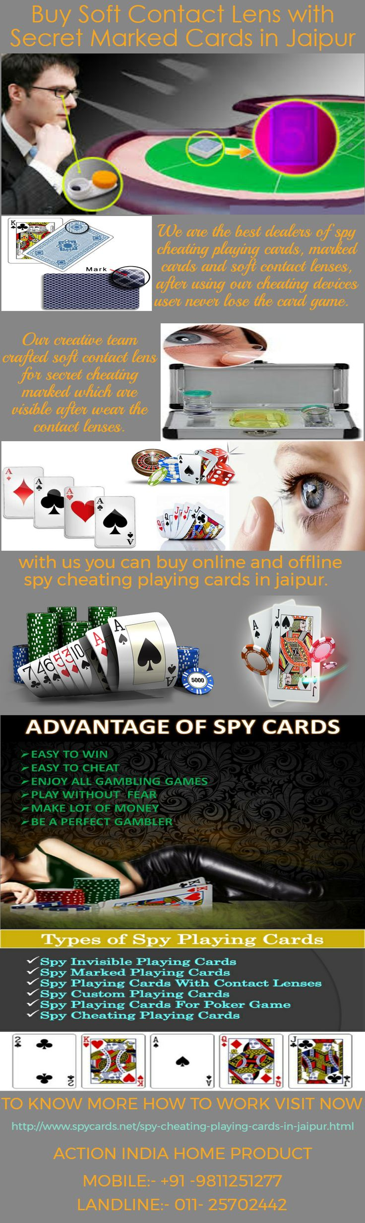 Spy cheating playing cards is the best card for making the money, gambler used these  cards for winning the all card and poker games. These are specially customized for cheating with secret way. We offers these spy cards in Jaipur at low price to know more that how to play with these hen visit our official website:- http://www.spycards.net/spy-cheating-playing-cards-in-jaipur.html