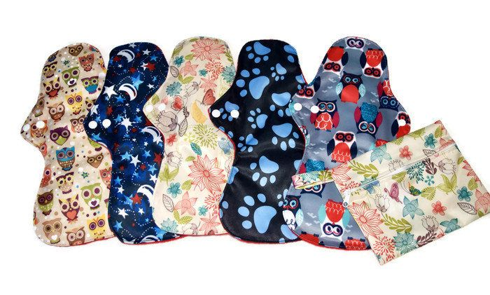 "SALE! 5 Soft 13""Long Overnight Pads/ Washable and Reusable Regular to Heavy Flow Cloth Pads!"