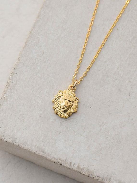 Lion Head Necklace Gold Zodiac Leo Necklace Gold Charm Etsy Lion Head Necklace Gold Charm Necklace Leo Necklace