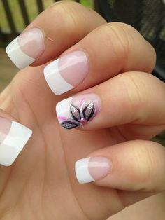 "Pretty flower nail design. Maybe one day my ""job description"" will allow me to get nails like these."