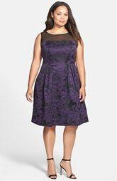 Adrianna Papell Illusion Yoke Pleat Jacquard Dress (Plus Size)