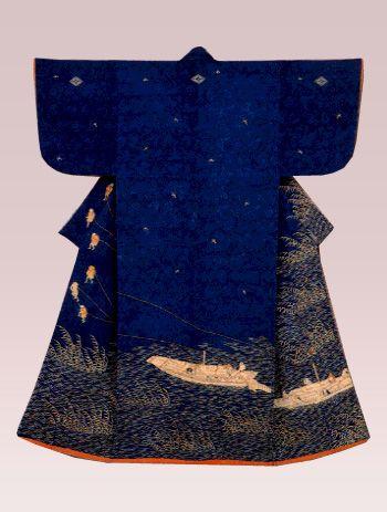 納戸紋縮緬地淀の曳船文様染繍小袖