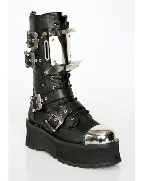 22b2800c711 Hell Hunter Unisexx Spike Boots  dollskill  demonia  platforms  unisex   boots  spike  metal