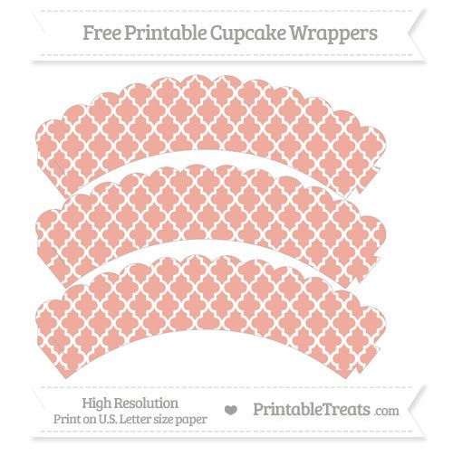 Free Pastel Coral  Moroccan Tile Pattern Scalloped Cupcake Wrappers