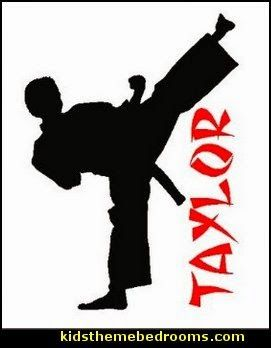 Personalized Karate Boy Wall Decal Art Sticker Words martial arts theme bedrooms - Karate bedroom ideas - Martial Arts bedroom decor - Martial Arts Bedding - Kung Fu Fighting - Oriental style decorating Asian themed - taekwondo