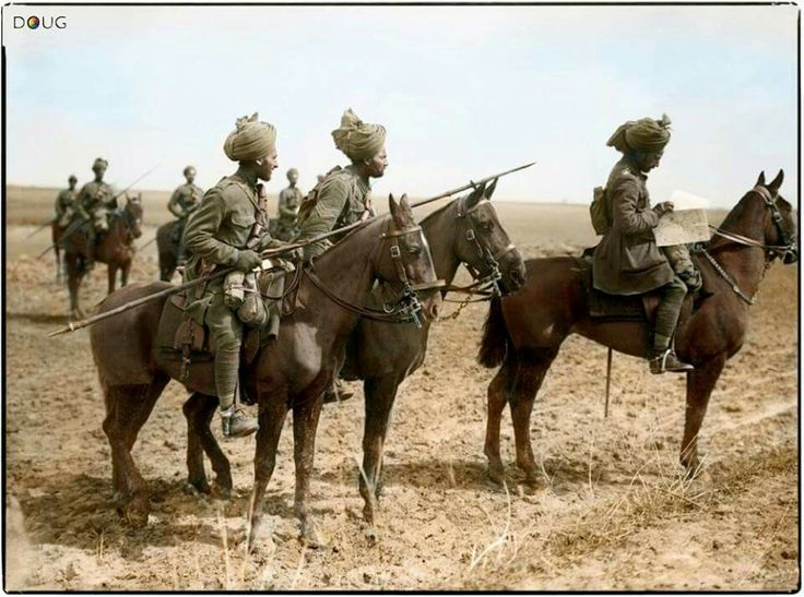 THE BATTLE OF ARRAS, APRIL-MAY 1917 Forward scouts of the 9th Hodson's Horse (Bengal Lancers), Indian Army, pause to consult a map, near Vraignes-en-Vermandois, Somme, France, April 1917.  Hodson's Horse served in France from November 1914 until the Indian Cavalry left the Western Front in February 1918. They fought at Givenchy in 1914, on the Somme in 1916 and at Cambrai in 1917.