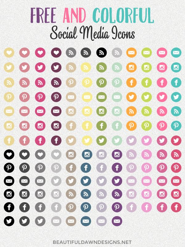 Here's a huge set of bright and colorful free social media buttons for you to enjoy! via @tiffany_griffin