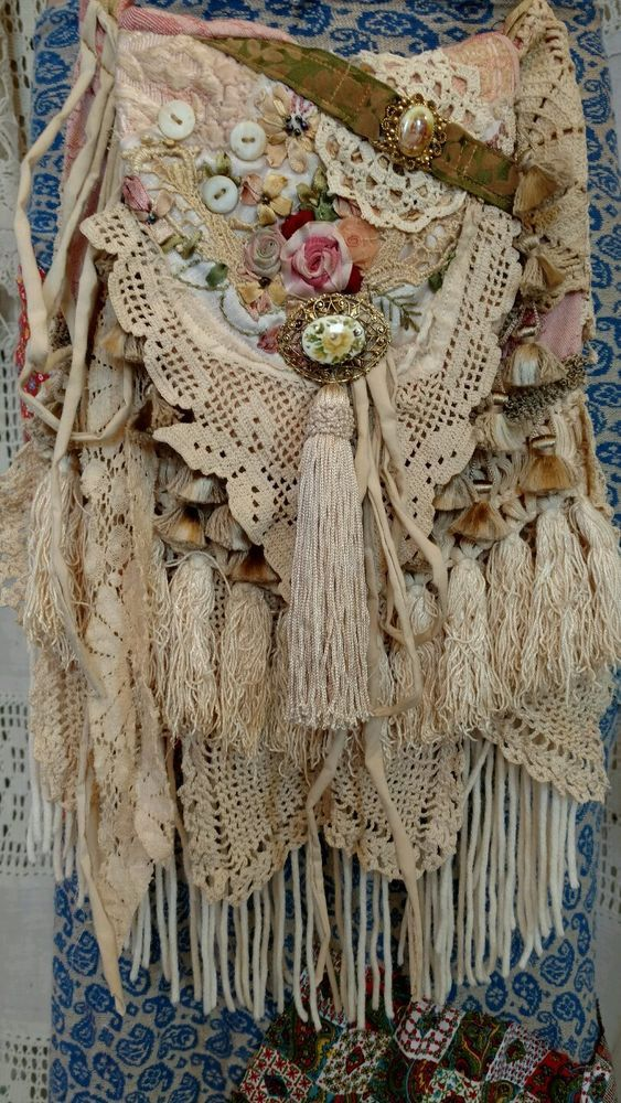 Handmade Vintage Lace Cross Body Bag Hippie Crochet Boho Hobo Fringe Bag tmyers #Handmade #MessengerCrossBody