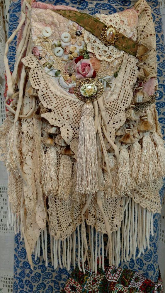 Handmade Vintage Lace Cross Body Bag Hippie Crochet Boho Hobo Fringe Bag tmyers #Handmade #MessengerCrossBody