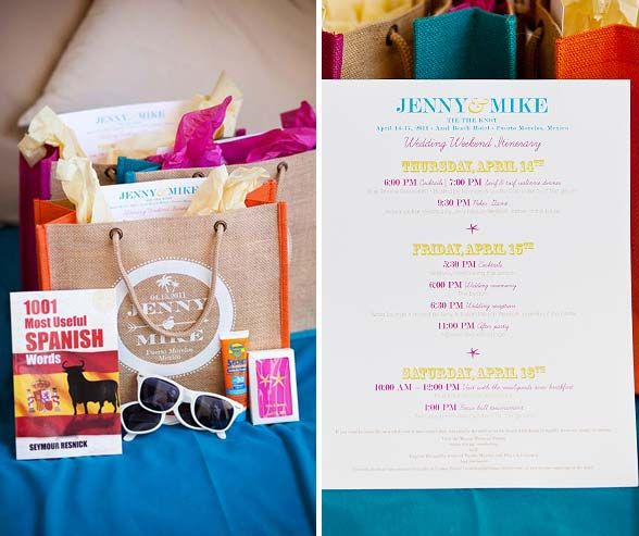 Add some flare and color in your destination wedding welcome bags! Traveling to a foreign land? Add a pocket dictionary of that language!