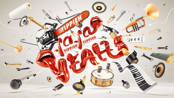 NHB – BEAUTY OF SOUND DESIGN by www.weareforeal.com  3d-typo, 3d-type, cgi, 3d, editorial, advertising, instruments, tongues