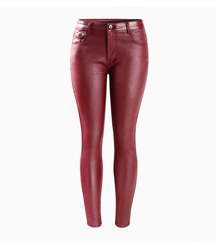 Women`s Red Faux Leather New Fashion Mid Waist Stretch Skinny Pants Femme Jeans For Woman