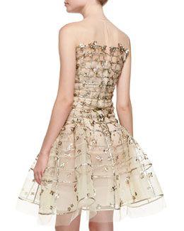 B2SW7 Oscar de la Renta Gold Sequin Embroidered Flare Dress