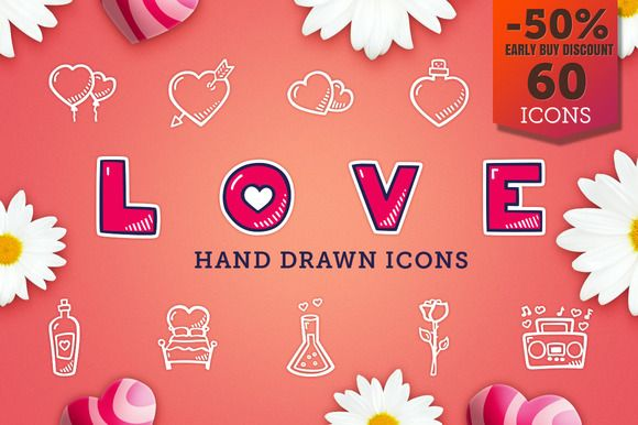 Love - Hand Drawn Icons by Good Stuff, No Nonsense on @creativemarket #icons #handrawn #scrapbooking #valentines