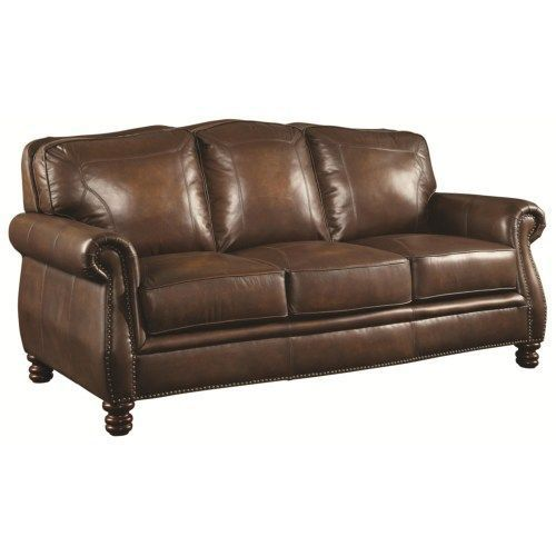 Coaster Montbrook Traditional Sofa with Rolled Arms and Nail head Trim - Coaster Fine Furniture #coasterfurniturecouch