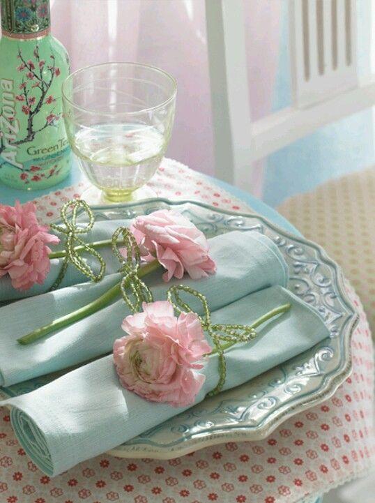 Love The Pink Fresh Florals & Light Blue Linen!