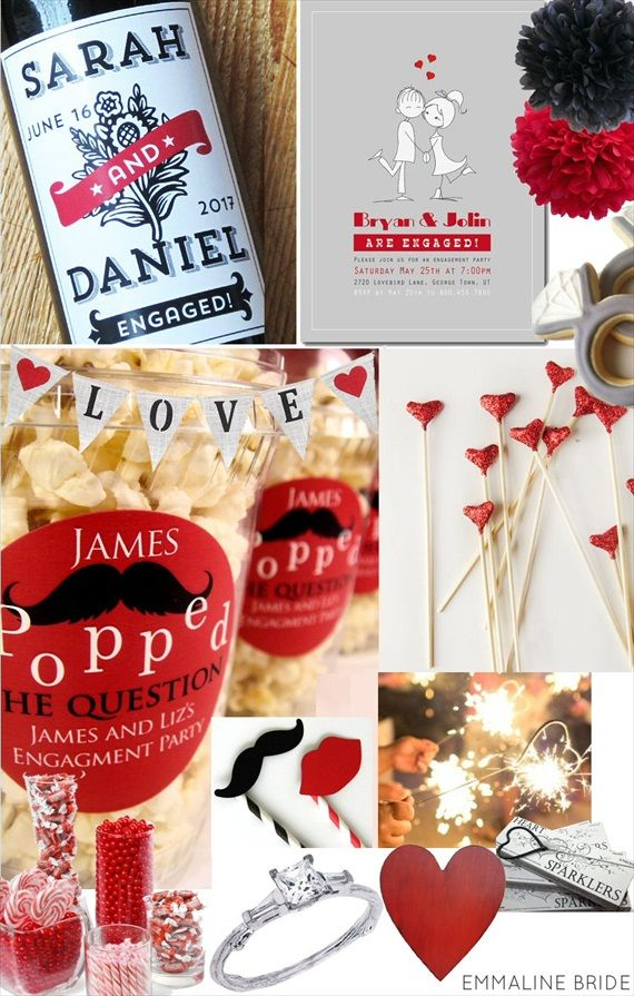 How to Plan an Engagement Party via EmmalineBride.com (love the he POPPED the question popcorn area - brilliant).