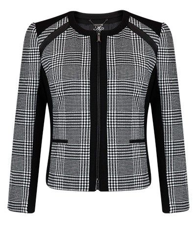 GRAPHITE STRETCH JACQUARD PANEL ZIP JACKET - Style Number: CW98235