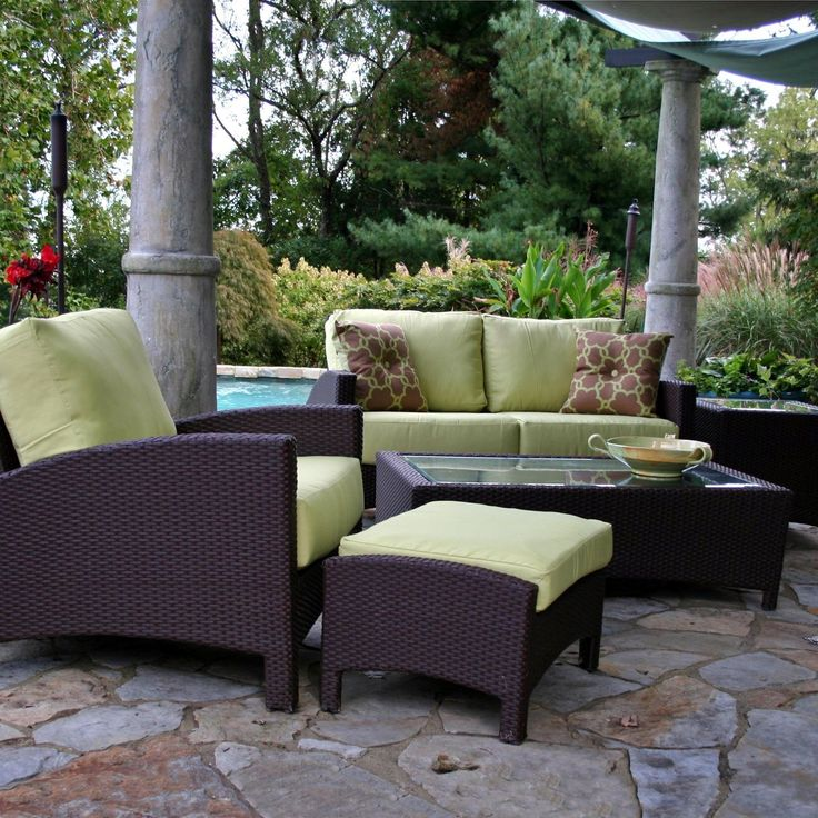 Thick Cushions Green Outdoor Rug Patio Furniture Set
