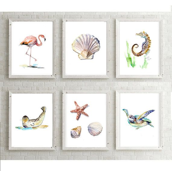 Strand schilderijen  Set van 6 Prints  flamingo door Zendrawing