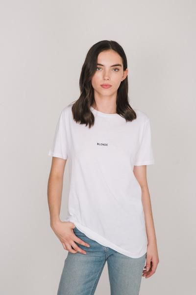 """Brunette babes! This 100% cotton boyfriend tee will be your new fave - comfy, classic and cute, with the centred """"BLONDE"""" minigraphic in Black."""