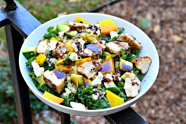 Kale, grilled chicken, avocado, golden beets, quinoa and goat cheese