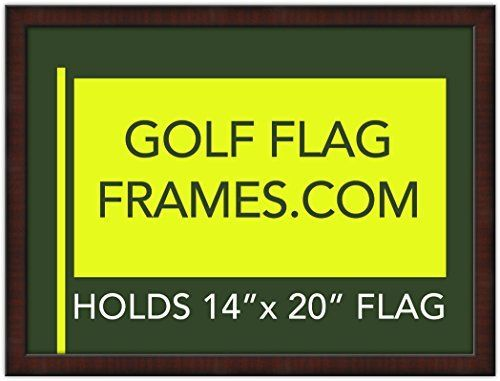 17x23 Golf Flag Frame Mahogany Color Frame 7352 Green Mat holds 14x20 PGA Ryder Cup US Open Golf Flags flag not incl ** Details can be found by clicking on the image.