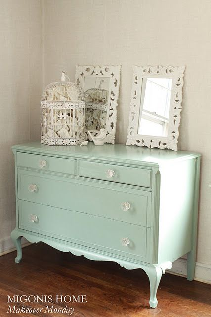 Dresser refinished in Benjamin Moore's Azores (Pottery Barn color) by Migonis Home: Pottery Barns Color, Paintings Furniture, Idea, Old Dressers, As Dressers, Pottery Barn Colors, Paintings Color, Benjamin Moore, Moore Azor