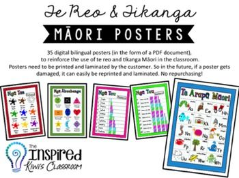 Kia+ora+Kiwi+teachers!+This+resource+is+a+digital+set+(PDF+file)+of+high+quality,+colourful,+bilingual+(Mori+&+English)+posters+to+assist+you+in+incorporating+te+reo+and+tikanga+Mori++into+your+classroom+display+and+programme.+There+are+35+posters+in+total,+spread+out+in+6+PDF+documents.