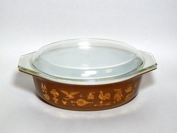 Pyrex Oval Casserole American Heritage. 24K by VintageVarietee