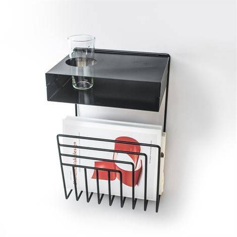 Pejl Wall Mounted Bedside Table No space for a full side table? This Scandinavian design is all you need—a rack for your books and magazines and a cupholder for your drink.   But it now: $104.00