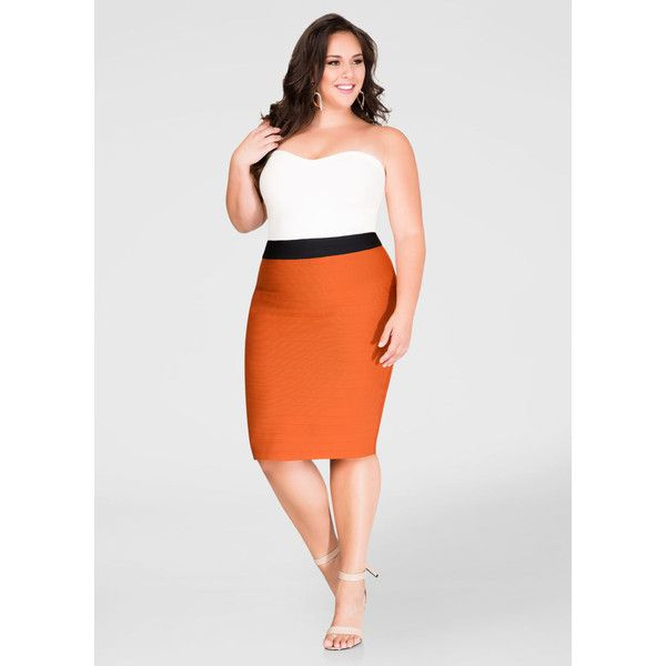 Ashley Stewart Strapless Bandage Dress ($55) ❤ liked on Polyvore featuring dresses, sexy plus size dresses, plus size bodycon dresses, plus size dresses, women's plus size dresses and bodycon bandage dress