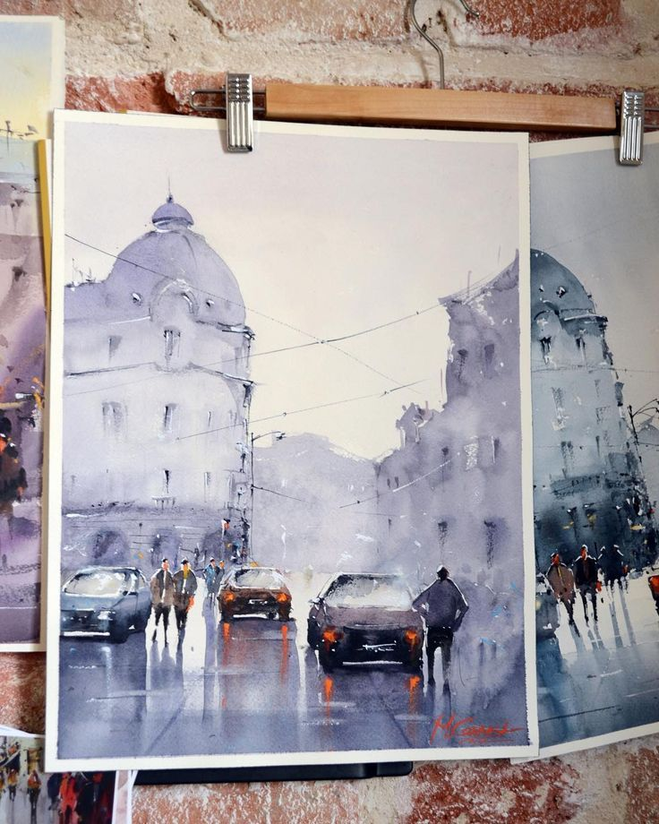 Bucharest Street Watercolor by Maria Cornea 40x30cm
