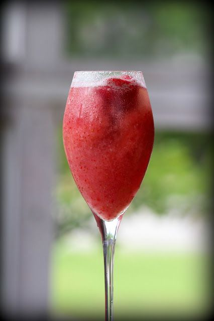 Strawberry Bellini: Champagne, simple syrup, frozen strawberries