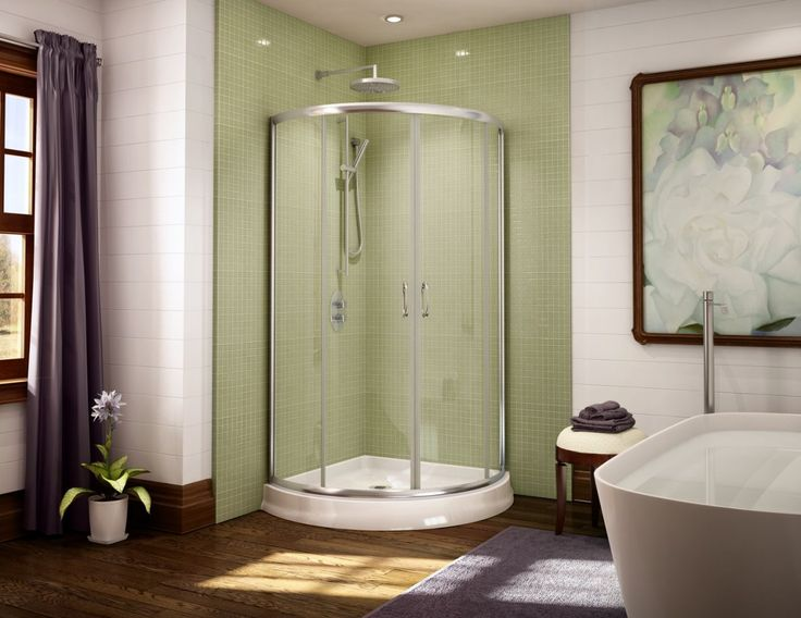 Unique curved acrylic shower base and glass enclosure system