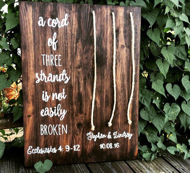Cord Of Three Strands W Names Bride Groom Custom Colors Wedding Sign