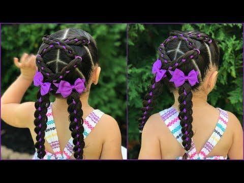 Peinado para niñas trenzas cruzadas de 4 cabos con listón|trenza de 4 cabos con liston| LPH - YouTube