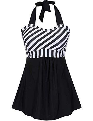 684964c1af JOYMODE Women's Halter Swimwear One Piece Swimsuit Skirtini Swimdress with  Boyshort