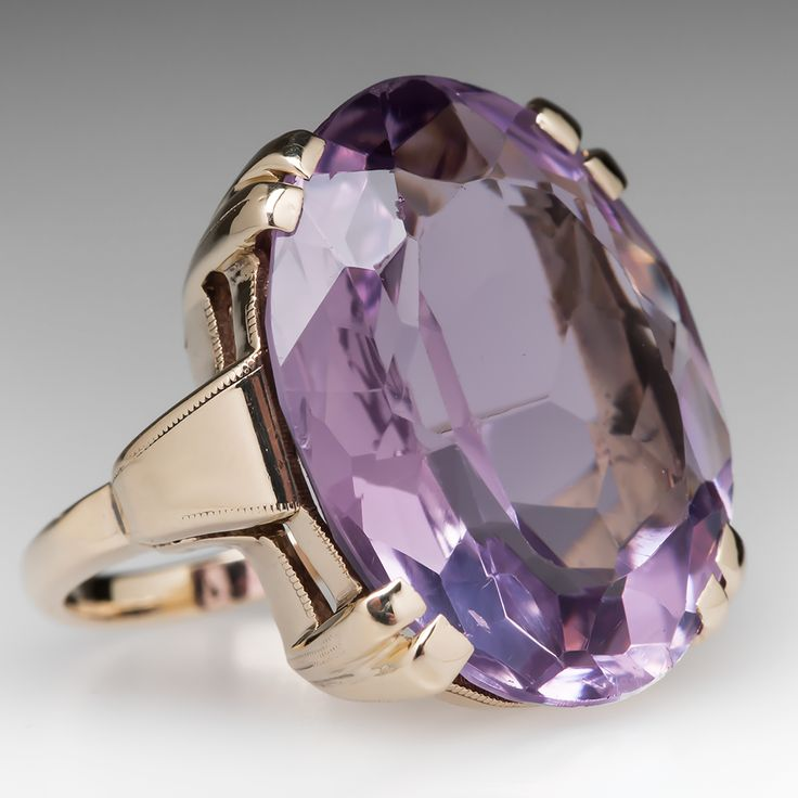 Vintage 18 Carat Amethyst Cocktail Ring 18K Gold 1950's
