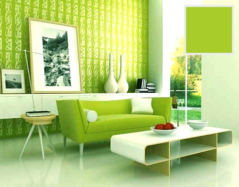 INFURN:: Green is often used in decorating for its calming effect. A cool colour that is often associated with nature and vegetation. How can you not love this modern and hip look? White accessories, wall and floors go perfectly with the bold green!