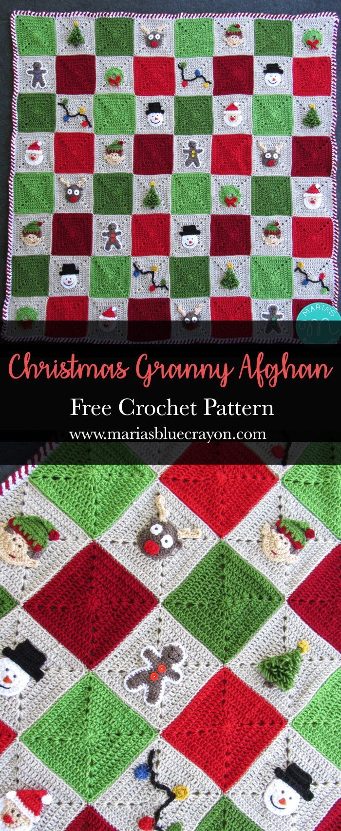 Crocheted Christmas Granny Square Afghan | Free Crochet Blanket Pattern | Festive Holiday Home Decor or Gift