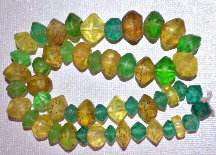 Antique European Green & Yellow Czech Faceted Glass Vaseline Beads African Trade