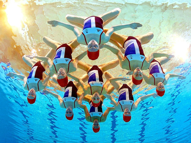 Great Britain synchronized swimming team, photo by Clive Rose