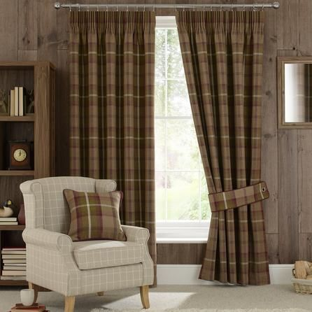 Dunelm Highland Check Lined Pencil Pleat Curtains in Plum Purple (117cm x 182cm)