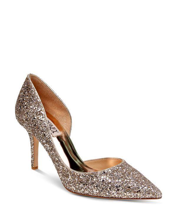 Badgley Mischka Daisy Glitter Half d'Orsay Pointed Toe Pumps