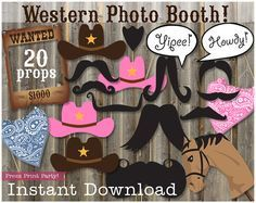 Print the perfect props for your next Western Party. 20 Props in all, including 10 mustaches (2 BIG ONES), 4 hats, 2 bandanas, a wanted sign, a horse, and 2 speech balloons. Designed to match the Western Cowboy or Cowgirl party printables here:  Cowboy: https://www.etsy.com/listing/198032273/cowboy-birthday-party-printables-western  Cowgirl: https://www.etsy.com/listing/156015517/cowgirl-western-party-printables-pink  Just so we're clear. You won't receive any physical product. The file will…
