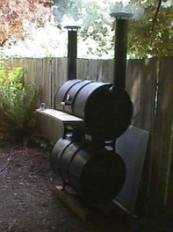 Build Your Own Big Baby Backyard BBQ Smoker.  My hubby would really like this!
