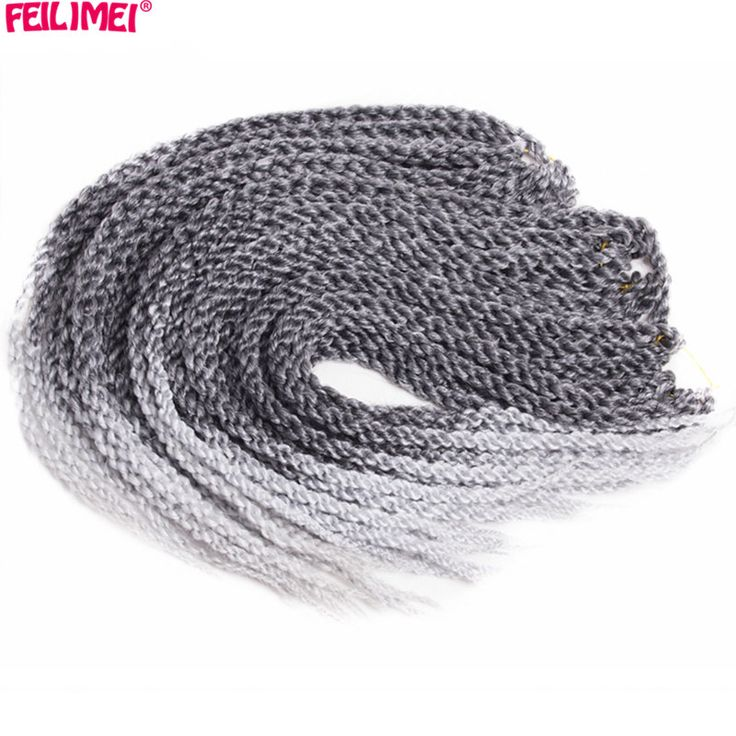 Feilimei Ombre Gray 3D Cubic Twist Braiding Hair Extensions 24Inch 120g Synthetic Japanese Fiber Black Brown Purple Crochet Hair #Affiliate